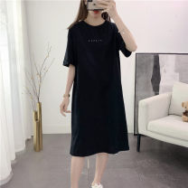 Women's large Summer 2020 9182 -- please -- black 9182 -- please -- white M (100 to 120 kg) l (120 to 140 kg) XL (140 to 160 kg) XXL (160 to 180 kg) T-shirt singleton  commute easy moderate Socket Short sleeve Korean version Crew neck Medium length cotton printing and dyeing routine 25-29 years old