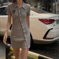 Dress Summer 2021 Grey black S M L XL Short skirt singleton  Short sleeve commute Polo collar High waist Solid color Single breasted Irregular skirt routine Others 18-24 years old QXVJ Korean version MC2021 More than 95% other Other 100% Pure e-commerce (online only)