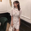 Dress Spring 2020 White, light purple S,M,L Short skirt Two piece set Short sleeve commute Crew neck High waist Solid color zipper other Others Type A Korean version Nail bead, lace More than 95% Lace