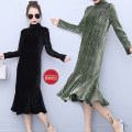 Dress Spring 2020 Black, army green, brown S,M,L,XL,2XL,3XL longuette singleton  Long sleeves Sweet Half high collar middle-waisted Solid color Socket Ruffle Skirt routine princess