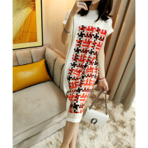 Dress Summer 2021 Decor S,M,L Mid length dress singleton  Short sleeve street Crew neck middle-waisted Decor Socket other other Others 30-34 years old Type H Fashion Stitching, printing More than 95% other silk Europe and America