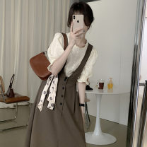 Dress Summer 2021 Apricot Top + coffee skirt, apricot Top + black skirt S,M,L,XL Two piece set elbow sleeve commute High waist Solid color Socket A-line skirt puff sleeve Type A Sandro asw More than 95% other other