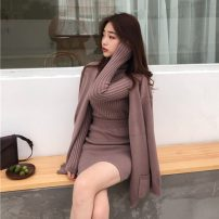 Wool knitwear Winter of 2018 Average size Khaki, apricot, black Long sleeves Three piece set other 31% (inclusive) - 50% (inclusive) Regular commute Self cultivation High collar Solid color 18-24 years old Other / other