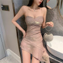 Dress Summer 2020 Meat meal S. M, l, XL, to ensure that the physical consistent with the picture, good quality, counter quality singleton  Sleeveless commute V-neck High waist other Socket Ruffle Skirt other camisole Type A Other / other Korean version backless 81% (inclusive) - 90% (inclusive) other