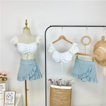 Split swimsuit Swimsuit story blue and white color M,L,XL Skirt split swimsuit With chest pad without steel support female