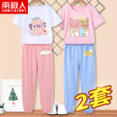 suit NGGGN 110cm 120cm 130cm 140cm 150cm 160cm 165cm female summer motion Short sleeve + pants 2 pieces Thin money There are models in the real shooting Socket nothing Cartoon animation Pure cotton (100% cotton content) Class B Cotton 100% Spring 2021 Chinese Mainland