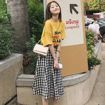 Dress Summer 2021 jacket + skirt + belt XS,S,M,L,XL,2XL Mid length dress Two piece set Short sleeve commute Crew neck Elastic waist lattice Socket Big swing routine 18-24 years old Type A Korean version brocade cotton