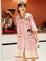 Nightdress Other / other 2211,2217,2213,20051,20061,20104,5010,A2119 S,M,L,XL,XXL Simplicity Short sleeve pajamas Middle-skirt summer Solid color youth Small lapel cotton printing More than 95% pure cotton