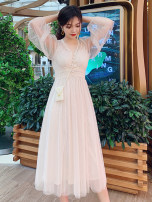 Dress Summer 2020 Apricot, bluish grey, pink S,M,L Mid length dress Two piece set Long sleeves commute V-neck High waist Solid color Socket A-line skirt puff sleeve Others 18-24 years old Type A Other / other Korean version Mesh, stitching 81% (inclusive) - 90% (inclusive) polyester fiber