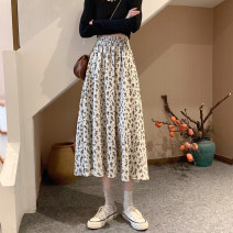 skirt Summer 2020 Average size Off white, black, base coat - bri longuette commute High waist A-line skirt Decor Type A 18-24 years old 30% and below Other / other other Korean version