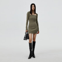 Dress Autumn 2020 green Average size Short skirt Long sleeves street One word collar High waist Solid color Pencil skirt Breast wrapping 25-29 years old Type H showroom plus C206DRS007 51% (inclusive) - 70% (inclusive) acrylic fibres Europe and America