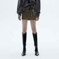 skirt Winter 2020 S M Leopard Print Short skirt street High waist A-line skirt Leopard Print Type A 25-29 years old C206SKT019 81% (inclusive) - 90% (inclusive) Wool showroom plus polyester fiber printing Polyester 90% wool 10% Europe and America