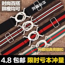Belt / belt / chain canvas Black, navy blue, rice white, rice green red, black red, green red, blue white, Maca, ripple blue, black double white, French, medium red brandy female belt Versatile Single loop Youth, youth, middle age, old age a hook Double button printing 3cm alloy Other hjdkmam20
