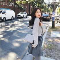 Dress Autumn of 2018 Rice coat, apricot skirt, grey coat, dark grey skirt S,M,L,XL Short skirt Two piece set Long sleeves commute Doll Collar High waist Solid color Socket A-line skirt routine Others 25-29 years old Type A Other / other literature Splicing QYAX9565 81% (inclusive) - 90% (inclusive)