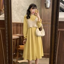 Dress Spring 2021 Vest apricot, dress black, dress yellow Average size Mid length dress singleton  Long sleeves commute Half high collar High waist Solid color Socket A-line skirt Lotus leaf sleeve Others 18-24 years old Type A Korean version 30% and below other other