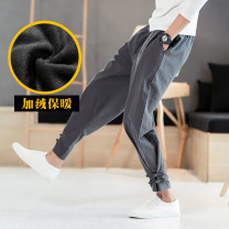 Casual pants Others Youth fashion Grey without velvet, Navy without velvet, black without velvet, red without velvet, army green without velvet, grey with velvet, black with velvet, red with velvet, navy with velvet M,L,XL,2XL,3XL,4XL,5XL thin trousers Other leisure easy No bullet winter youth tide