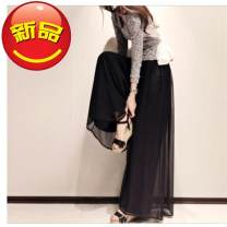Casual pants Black [short lining], blue [short lining], pink [short lining], black [long lining], blue [long lining], pink [long lining] M 80-100kg, l 100-120kg, XL 120-140kg, 2XL 140-160kg, 3XL 160-180kg, 4XL 180-200kg Summer 2017 trousers Wide leg pants High waist commute routine 18-24 years old