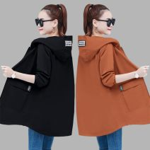 short coat Autumn 2020 Long sleeves Medium length routine singleton  easy commute routine Hood zipper Solid color 35-39 years old Other / other 30% and below polyester fiber polyester fiber