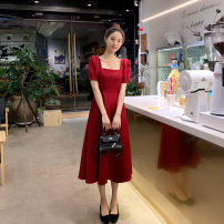 Dress Summer 2021 Fashion red classic black S M L XL longuette singleton  Short sleeve commute square neck High waist Solid color Socket A-line skirt routine Others 25-29 years old Type A Beautiful couple Britain zipper FL20215890 More than 95% Chiffon polyester fiber Polyester 100%
