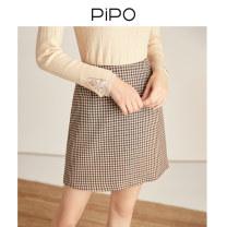 skirt Autumn 2020 S M L XL lattice Short skirt commute High waist A-line skirt lattice Type A 25-29 years old AP03Q037 More than 95% PIPO polyester fiber Retro Polyester 98% polyurethane elastic fiber (spandex) 2% Pure e-commerce (online only)