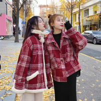 woolen coat Winter of 2019 S,M,L,XL Red [cotton thickening], red [lamb hair] other 95% and above routine Long sleeves commute Single breasted routine Polo collar lattice Straight cylinder Korean version 18-24 years old