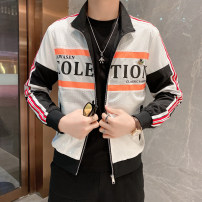 Jacket Other / other Youth fashion black and white M,L,XL,2XL,3XL routine Self cultivation Other leisure Four seasons Long sleeves Wear out stand collar tide youth routine Zipper placket 2021 No iron treatment Geometric pattern printing