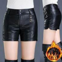 Casual pants Spring 2021 shorts Straight pants High waist commute routine 25-29 years old Other / other PU leather Korean version pocket