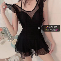 one piece  Other brands S (recommended 80-90 kg), m (recommended 90-100 kg), l (recommended 100-110 kg), XL (recommended 110-130 kg) black Skirt one piece Steel strap breast pad Spandex, polyester, others female Sleeveless Casual swimsuit stripe