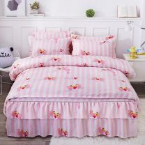 Bedding Set / four piece set / multi piece set cotton other Plants and flowers 133x72 Other / other cotton 4 pieces 40 1.5m (5 ft) bed, 1.8m (6 ft) bed, 2.0m (6.6 ft) bed First Grade Korean style 100% cotton Reactive Print  Article number