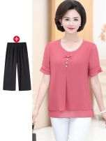 Middle aged and old women's wear Summer of 2019 fashion T-shirt easy Two piece set Solid color 40-49 years old Socket ultrathin Crew neck routine routine Other Button other 96% and above Short sleeve Cropped Trousers