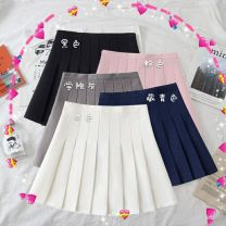 skirt Summer 2020 M,L,XL,2XL Black, white, pink back elastic belt safety pants, college grey back elastic belt safety pants Short skirt commute High waist Pleated skirt Solid color Type A 18-24 years old FS2019717 51% (inclusive) - 70% (inclusive) brocade Cellulose acetate Zipper, stitching
