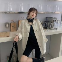 short coat Spring 2021 Average size white Long sleeves Medium length routine singleton  easy commute routine Solid color 18-24 years old Other / other 30% and below