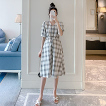 Dress Other / other white M,L,XL,XXL Korean version Long sleeves Medium length summer V-neck lattice Pure cotton (95% and above)