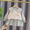 Dress Decor female Yyxxbaby 80cm 90cm 100cm 110cm Other 100% spring and autumn Korean version Long sleeves Broken flowers cotton A-line skirt Spring 2021 12 months, 6 months, 9 months, 18 months, 2 years, 3 years, 4 years