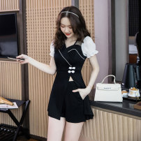 Dress Summer 2021 black S M L XL 2XL Miniskirt Two piece set Short sleeve commute square neck High waist Solid color zipper A-line skirt puff sleeve 25-29 years old Ryukura Korean version More than 95% other Other 100% Pure e-commerce (online only)