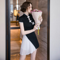 Dress Summer 2021 black S M L XL Short skirt Two piece set Short sleeve commute Crew neck High waist Solid color zipper A-line skirt routine Others 25-29 years old Type A Ryukura Korean version Stitching zipper More than 95% other Other 100% Pure e-commerce (online only)
