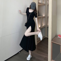 Women's large Summer 2021 Black Pink S M L XL singleton  commute Short sleeve Korean version square neck puff sleeve Yinhong 18-24 years old longuette Other 100% Pure e-commerce (online only) Princess Dress