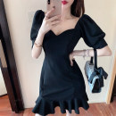 Women's large Summer 2021 black S M L XL singleton  commute Short sleeve Korean version One word collar puff sleeve Yinhong 18-24 years old Middle-skirt Other 100% Pure e-commerce (online only) Princess Dress