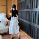 Women's large Summer 2021 Black top + skirt S M L XL Two piece set commute Short sleeve Korean version Yinhong 18-24 years old Other 100% Pure e-commerce (online only)
