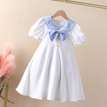 Dress white female An baowa 100cm 110cm 120cm 130cm 140cm Polyester 100% summer college Short sleeve Solid color polyester A-line skirt abw2569 Class B Summer 2021 3 years old, 4 years old, 5 years old, 6 years old, 7 years old, 8 years old, 9 years old, 10 years old Chinese Mainland Dongguan City