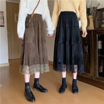 skirt Winter 2020 Average size Brown, black Mid length dress Versatile High waist Pleated skirt Type A 18-24 years old C10.17 30% and below knitting nylon