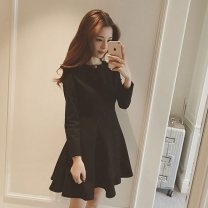 Women's large Winter 2020, autumn 2020 black Large L = 3, large XL = 4, s = 1, M = 2, 2XL = 5, 3XL = 6 Dress singleton  commute Long sleeves Solid color Korean version Crew neck cotton routine zipper 96% and above Short skirt