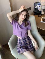Fashion suit Summer 2020 S,M,L,XL Purple Top + plaid skirt suit, [single] purple top, [single] white top, [single] black top, [single] lemon yellow top, [single] red top, [single] plaid skirt 18-25 years old Other / other WZJ-20200618 31% (inclusive) - 50% (inclusive) cotton