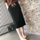 skirt Autumn of 2019 M,L,XL,2XL black Mid length dress grace Natural waist skirt Solid color Type H 25-29 years old 81% (inclusive) - 90% (inclusive) knitting cotton Pocket, lace up