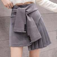 skirt Spring 2020 S,M,L,XL Black, gray Short skirt commute High waist Pleated skirt Solid color Type A 18-24 years old 51% (inclusive) - 70% (inclusive) other other Korean version