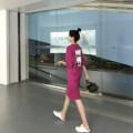 Dress Terry Kennedy rose red M,L,XL,XXL Korean version elbow sleeve Medium length summer Crew neck Solid color 158#