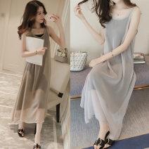 Dress Terry Kennedy Khaki, smoke grey M,L,XL,XXL Korean version Sleeveless Medium length summer Solid color polyester fiber 125#