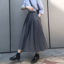 skirt Winter 2020 S,M,L,XL,2XL Black, gray Mid length dress Retro High waist Pleated skirt 25-29 years old More than 95% Other / other other