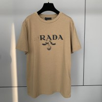 T-shirt White, black, Dark Khaki S,M,L Summer 2021 Long sleeves V-neck easy Regular routine commute cotton 96% and above 18-24 years old Cartoon animation Other / other printing