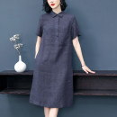 Dress Summer 2021 navy blue S M L XL Mid length dress singleton  Short sleeve commute other Loose waist Solid color Socket A-line skirt routine Others 30-34 years old Type A literature Button More than 95% hemp Flax 100%